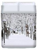 Snowy Lane In Winter Park Duvet Cover by Elena Elisseeva