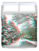 Snowy Lane - Use Red/cyan Filtered 3d Glasses Duvet Cover