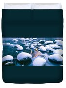 Snowy Merced River With Reflection Duvet Cover