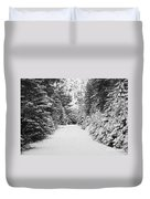 Snowy Mountain Road - Black And White Duvet Cover