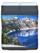 Snowy Mountains Reflected In Crater Lake Duvet Cover
