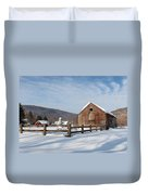 Snowy New England Barns Duvet Cover