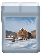 Snowy New England Barns Square Duvet Cover