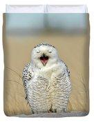 Snowy Owl Yawning Duvet Cover
