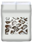 Snowy Path And Paw Prints Duvet Cover