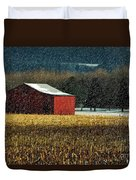 Snowy Red Barn In Winter Duvet Cover