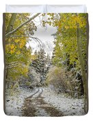 Snowy Road In Fall Duvet Cover