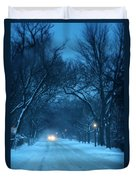 Snowy Road On A Winter Evening Duvet Cover