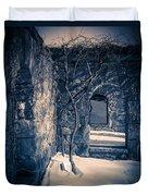 Snowy Ruins At Night Duvet Cover