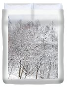 Snowy Trees In Winter Park Duvet Cover