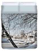 Snowy View Of Boathouserow Duvet Cover
