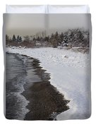 Snowy Winter Beach Patterns - Lake Ontario Toronto Canada Duvet Cover