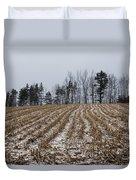 Snowy Winter Cornfields Duvet Cover