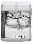Snowy Winter Country Cottonwood Tree View Bwsc Duvet Cover by James BO  Insogna