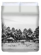 Snowy Winter Pine Trees In Black And White Duvet Cover