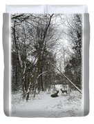 Snowy Wooded Path Duvet Cover