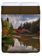 Soaring Autumn Colors In The Japanese Garden Duvet Cover