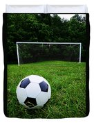 Soccer Ball On Field Duvet Cover