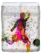 Soccer Player - Kicking Ball Duvet Cover