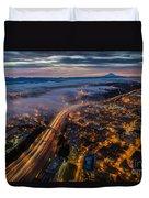 Sodo Sunrise Seattle Morning Duvet Cover