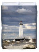 Sodus Outer Lighthouse On Stormy Lake Duvet Cover