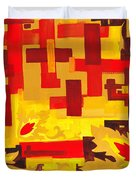 Soft Geometrics Abstract In Red And Yellow Impression I Duvet Cover