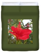 Soft Red Hibiscus With A Natural Garden Background Duvet Cover