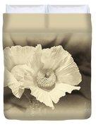 Soft Sepia White Poppy Matilija Flower Duvet Cover