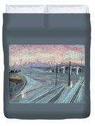 Soft Sunset Over San Francisco And Oakland Train Tracks Duvet Cover