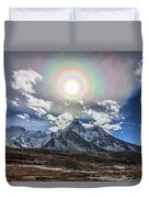 Solar Corona Above The Ama Dablam Duvet Cover