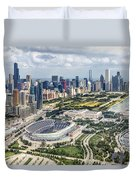Soldier Field And Chicago Skyline Duvet Cover