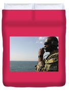 Soldier Instructs Small Boat Maneuvers Duvet Cover