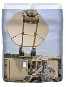 Soldier Stands Next To A Satellite Duvet Cover