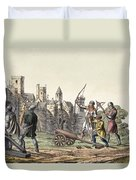 Soldiers And Artillery Of The 15th Duvet Cover