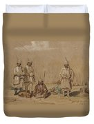 Soldiers Relaxing, 1844 Wc & Gouache On Paper Duvet Cover