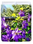 Solina Clematis On Fence Duvet Cover