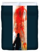 Solitary Man - Red And Black Abstract Art Duvet Cover