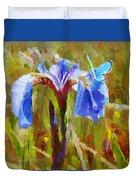 Alaskan Wild Iris And Blue Butterfly Flower Painting Duvet Cover