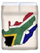 South Africa Map Art With Flag Design Duvet Cover