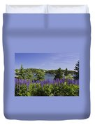 South Bristol And Lupine Flowers On The Coast Of Maine Duvet Cover