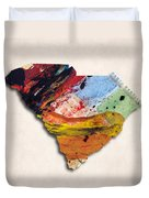 South Carolina Map Art - Painted Map Of South Carolina Duvet Cover