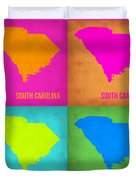 South Carolina Pop Art Map 1 Duvet Cover