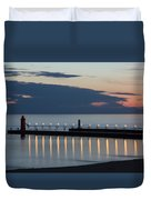 South Haven Michigan Lighthouse Duvet Cover by Adam Romanowicz