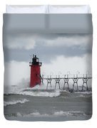 South Haven Pier Light In A Storm Duvet Cover