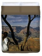South Rim Grand Canyon Sunset Light On Rock Formations With Woma Duvet Cover