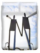 South Street Stick Men Statue Duvet Cover