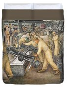 South Wall Of A Mural Depicting Detroit Industry Duvet Cover by Diego Rivera