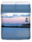 Southeast Guidewall Lighthouse At Sunset And Tall Ship Windy Duvet Cover