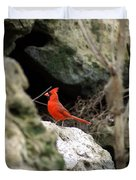 Southern Red Bird By The Flint River Duvet Cover