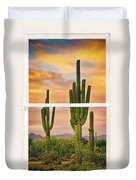 Southwest Desert Sunset White Rustic Distressed Window Art Duvet Cover